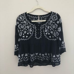 Free people sheer navy embroidered top
